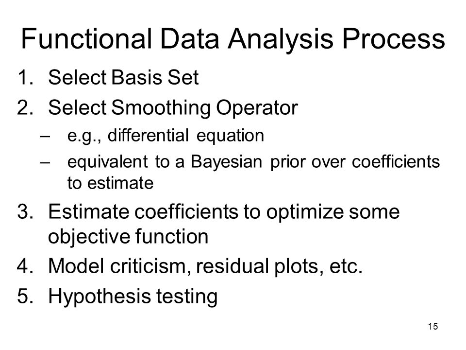 15 Functional Data Analysis Process 1.Select Basis Set 2.Select Smoothing Operator –e.g., differential equation –equivalent to a Bayesian prior over coefficients to estimate 3.Estimate coefficients to optimize some objective function 4.Model criticism, residual plots, etc.