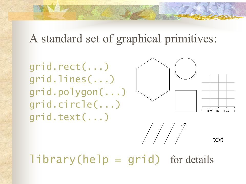 For every function of the form grid.* there is an equivalent function *Grob that returns a graphical object but doesn t draw it on the graphics device: grid.rect(...) rectGrob(...) grid.lines(...) linesGrob(...) grid.polygon(...) polygonGrob(...) grid.circle(...) circleGrob(...) grid.text(...) textGrob(..) Usage: Rect <- rectGrob(...) grid.draw(Rect)