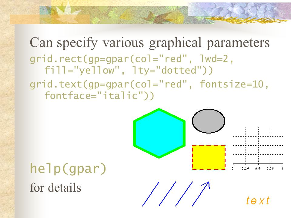Can specify various graphical parameters grid.rect(gp=gpar(col= red , lwd=2, fill= yellow , lty= dotted )) grid.text(gp=gpar(col= red , fontsize=10, fontface= italic )) help(gpar) for details