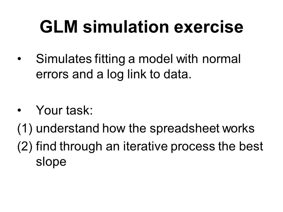 GLM simulation exercise Simulates fitting a model with normal errors and a log link to data.