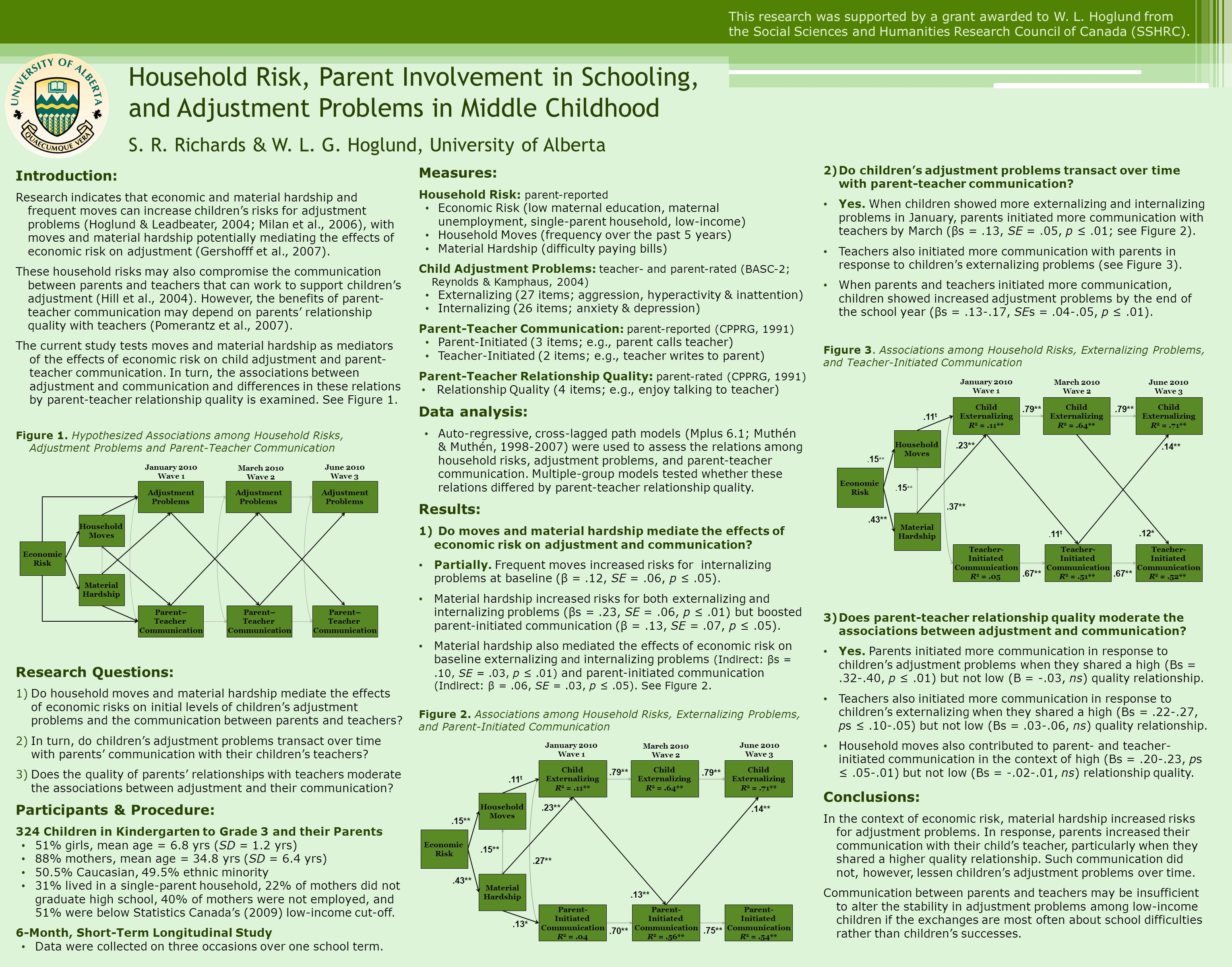 2)Do children's adjustment problems transact over time with parent-teacher communication.