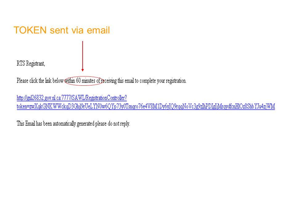 TOKEN sent via email