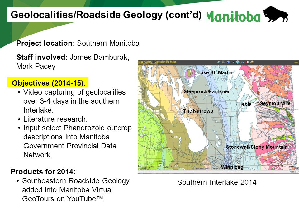 Products for 2014: Southeastern Roadside Geology added into Manitoba Virtual GeoTours on YouTube™.