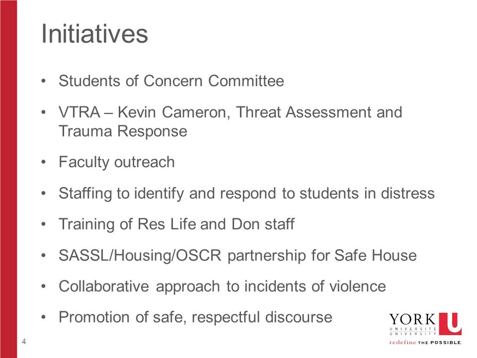 4 Initiatives Students of Concern Committee VTRA – Kevin Cameron, Threat Assessment and Trauma Response Faculty outreach Staffing to identify and resp