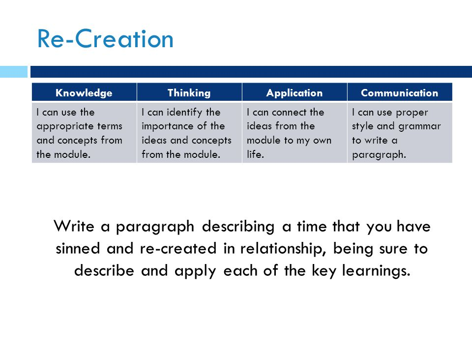 Re-Creation KnowledgeThinkingApplicationCommunication I can use the appropriate terms and concepts from the module. I can identify the importance of t