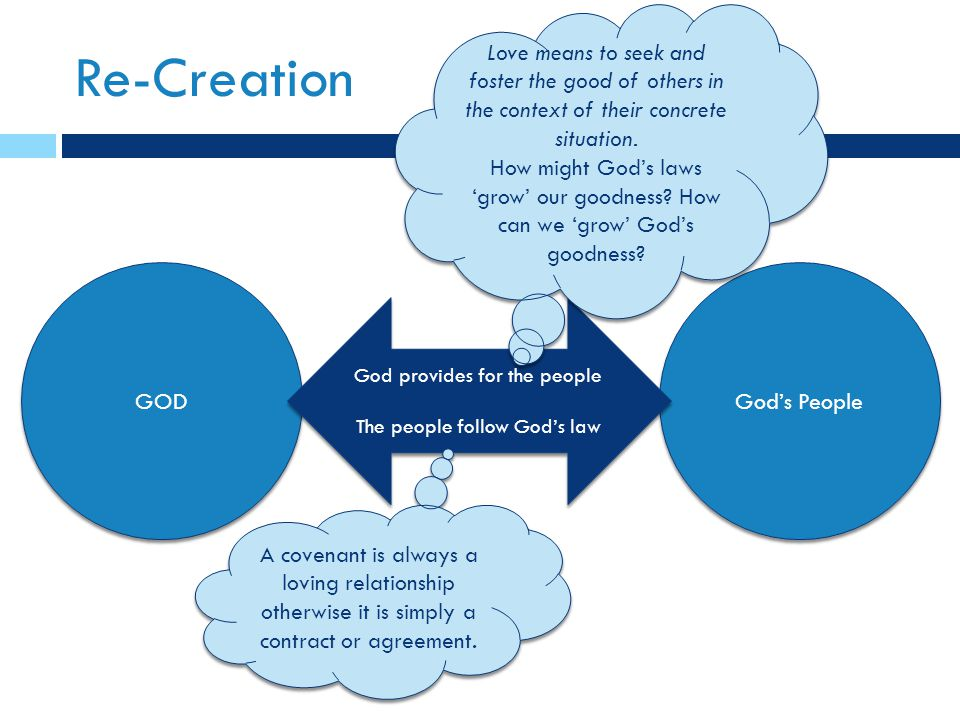 Re-Creation GOD God's People God provides for the people The people follow God's law God provides for the people The people follow God's law Love means to seek and foster the good of others in the context of their concrete situation.