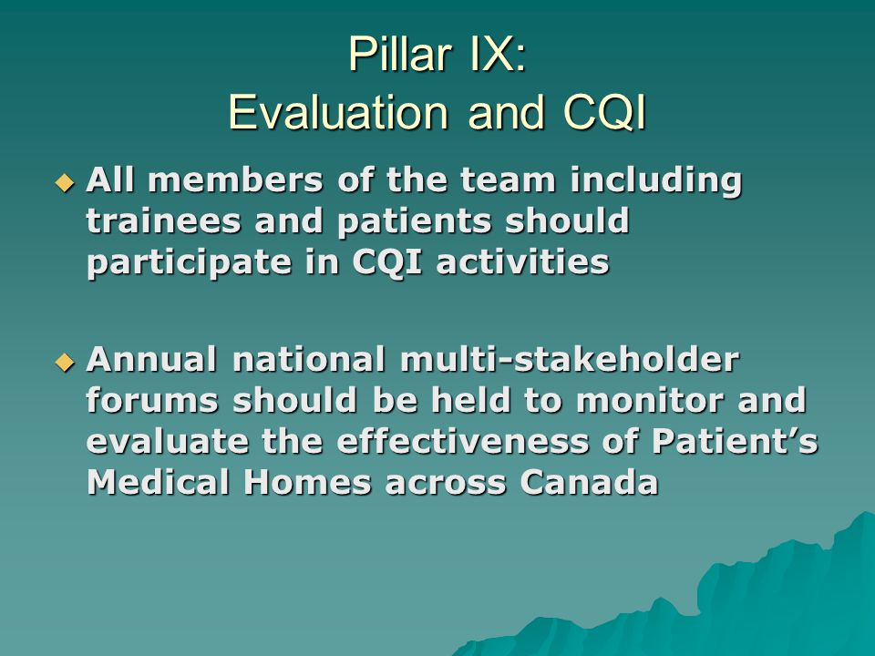 Pillar IX: Evaluation and CQI  All members of the team including trainees and patients should participate in CQI activities  Annual national multi-stakeholder forums should be held to monitor and evaluate the effectiveness of Patient's Medical Homes across Canada