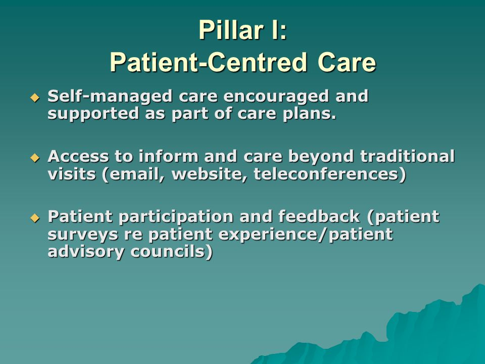 Pillar l: Patient-Centred Care  Self-managed care encouraged and supported as part of care plans.