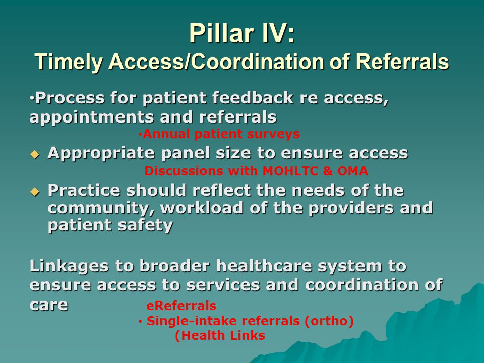 Pillar IV: Timely Access/Coordination of Referrals Process for patient feedback re access, appointments and referrals Process for patient feedback re access, appointments and referrals Annual patient surveys  Appropriate panel size to ensure access Discussions with MOHLTC & OMA  Practice should reflect the needs of the community, workload of the providers and patient safety Linkages to broader healthcare system to ensure access to services and coordination of care Linkages to broader healthcare system to ensure access to services and coordination of care eReferrals Single-intake referrals (ortho) (Health Links