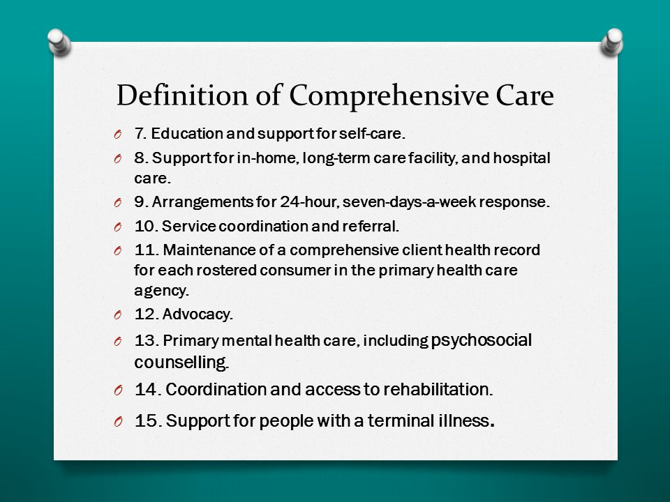 Definition of Comprehensive Care O 7. Education and support for self-care.