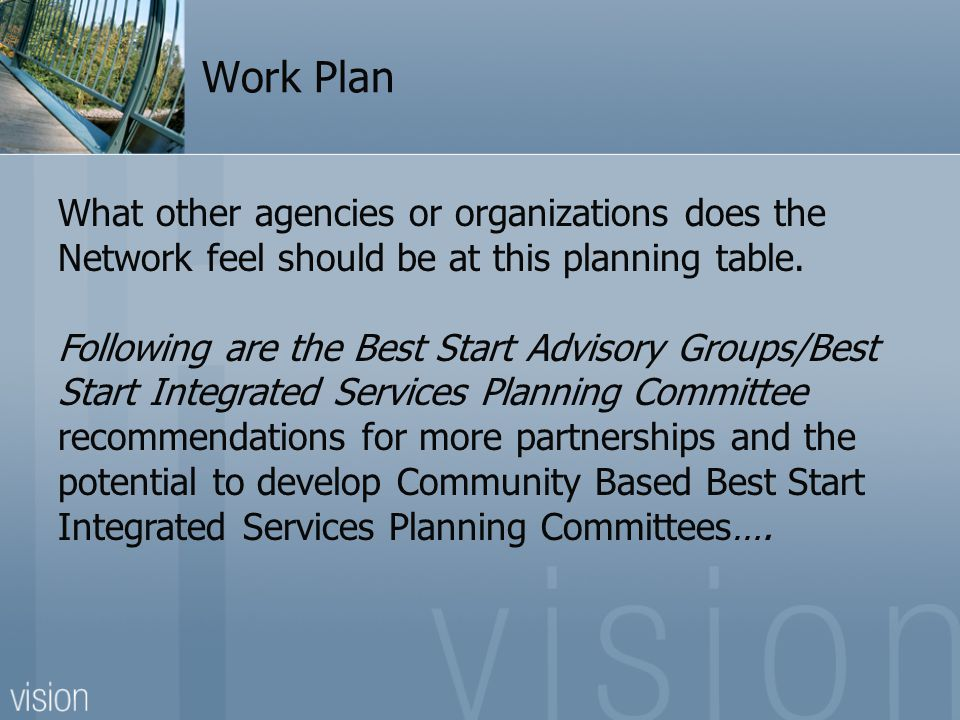 Work Plan What other agencies or organizations does the Network feel should be at this planning table. Following are the Best Start Advisory Groups/Be