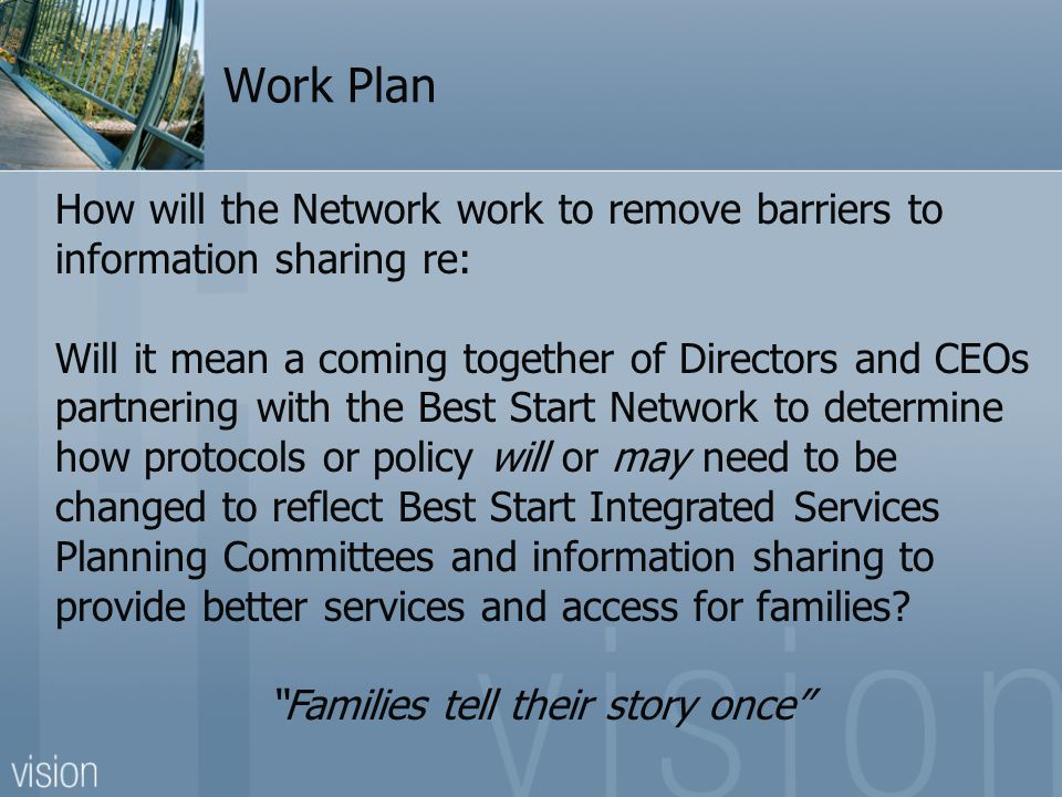 Work Plan How will the Network develop a step by step process to combining integrated services across the District and the roll out of Best Start Hubs Who will develop an evaluation process to ensure that hubs are meeting the needs of families in the Rainy River District and reflect the Best Start Integrated Implementation Plan