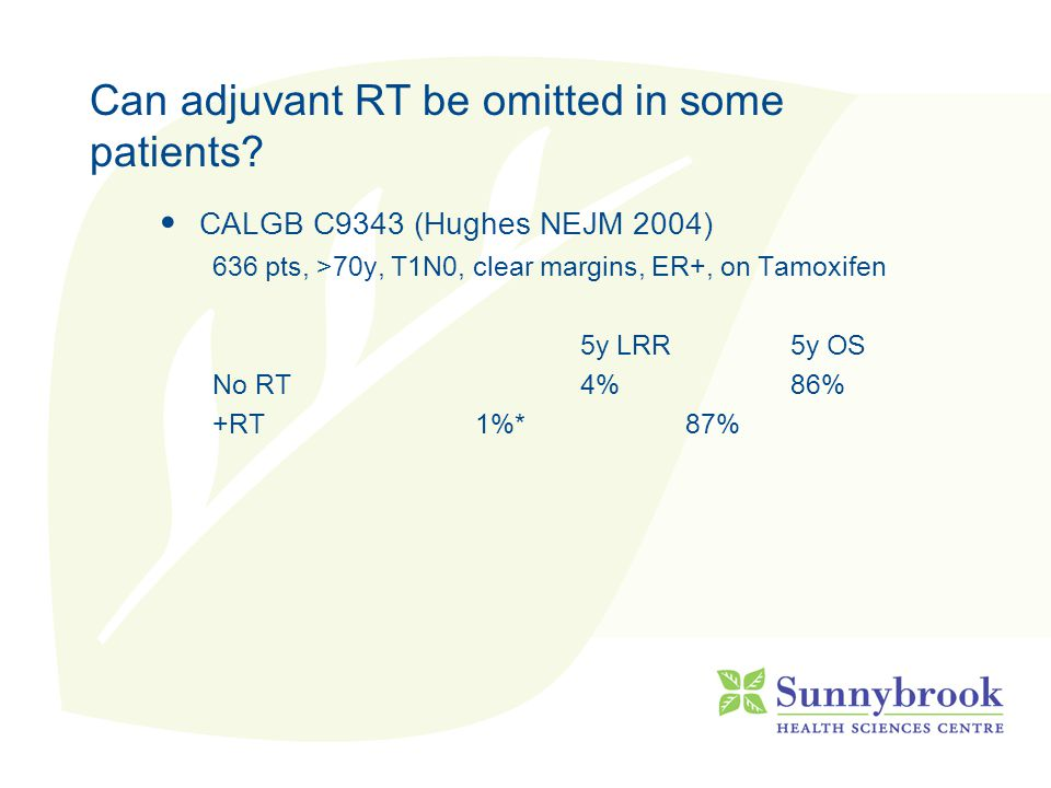 Can adjuvant RT be omitted in some patients? CALGB C9343 (Hughes NEJM 2004) 636 pts, >70y, T1N0, clear margins, ER+, on Tamoxifen 5y LRR5y OS No RT4%8