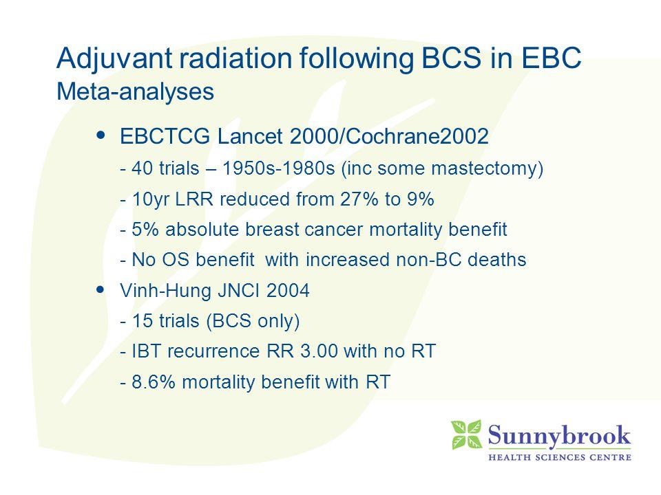 Post-mastectomy Radiation RCTs of mastectomy +/- XRT Danish premenopausal (Overgaard NEJM 97) 10y LRR10y OS CMF32%45% CMF+RT9%54% Danish post-menopausal (Overgaard Lancet 99) 10y LRR10y OS Tam35%36% Tam+RT8%45%