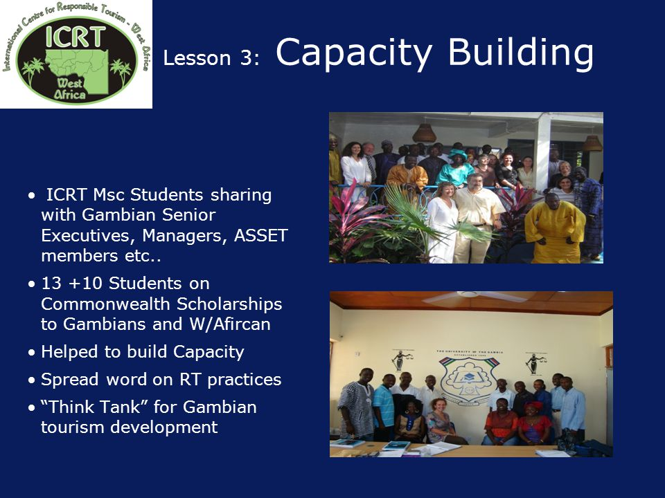 Lesson 3: Capacity Building ICRT Msc Students sharing with Gambian Senior Executives, Managers, ASSET members etc..