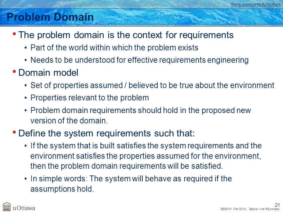SEG3101 (Fall 2010). Basics – the RE process. 21 Problem Domain The problem domain is the context for requirements Part of the world within which the