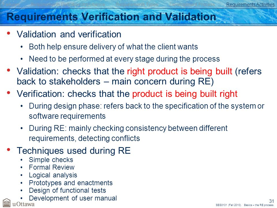 SEG3101 (Fall 2010). Basics – the RE process. 31 Validation and verification Both help ensure delivery of what the client wants Need to be performed a