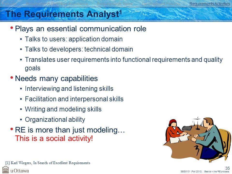 SEG3101 (Fall 2010). Basics – the RE process.