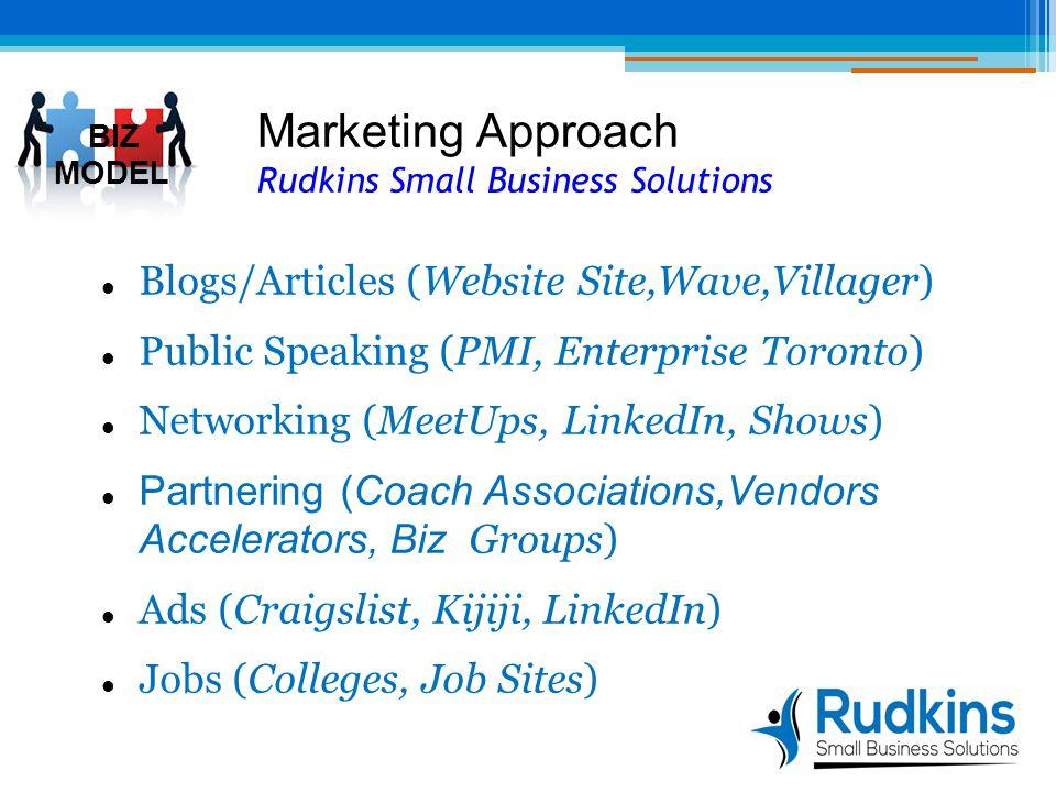 Marketing Approach Rudkins Small Business Solutions Blogs/Articles (Website Site,Wave,Villager) Public Speaking (PMI, Enterprise Toronto) Networking (MeetUps, LinkedIn, Shows) Partnering (Coach Associations,Vendors Accelerators, Biz Groups) Ads (Craigslist, Kijiji, LinkedIn) Jobs (Colleges, Job Sites) 1 BIZ MODEL