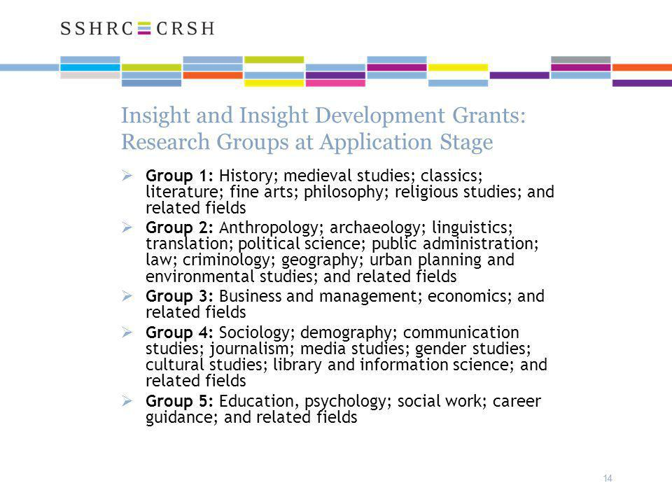 14 Insight and Insight Development Grants: Research Groups at Application Stage  Group 1: History; medieval studies; classics; literature; fine arts; philosophy; religious studies; and related fields  Group 2: Anthropology; archaeology; linguistics; translation; political science; public administration; law; criminology; geography; urban planning and environmental studies; and related fields  Group 3: Business and management; economics; and related fields  Group 4: Sociology; demography; communication studies; journalism; media studies; gender studies; cultural studies; library and information science; and related fields  Group 5: Education, psychology; social work; career guidance; and related fields