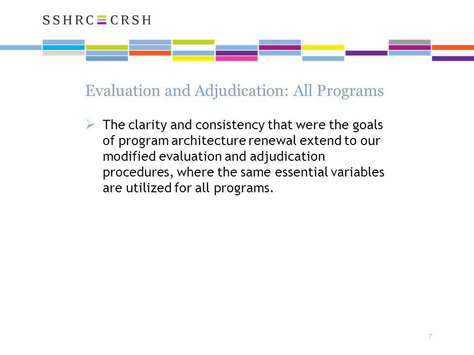 7 Evaluation and Adjudication: All Programs  The clarity and consistency that were the goals of program architecture renewal extend to our modified evaluation and adjudication procedures, where the same essential variables are utilized for all programs.