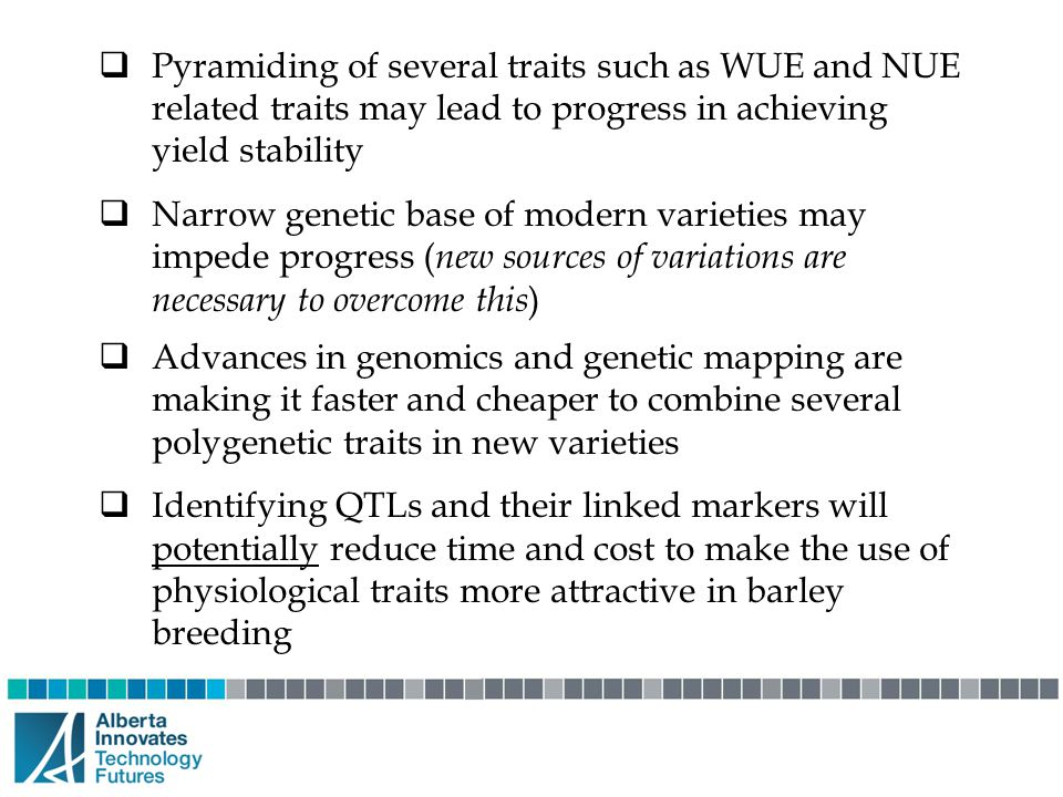  Pyramiding of several traits such as WUE and NUE related traits may lead to progress in achieving yield stability  Narrow genetic base of modern va