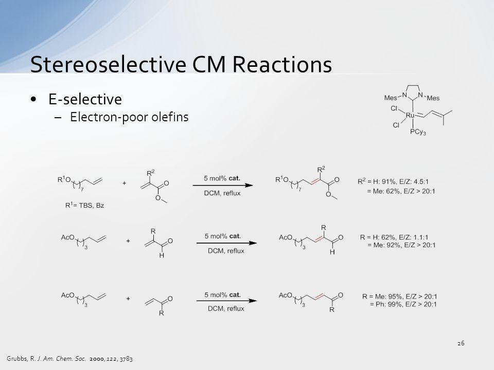 E-selective –Electron-poor olefins Stereoselective CM Reactions Grubbs, R.