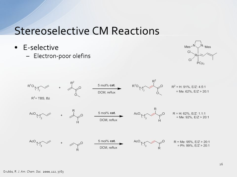 E-selective –Electron-poor olefins Stereoselective CM Reactions Grubbs, R. J. Am. Chem. Soc. 2000, 122, 3783 26