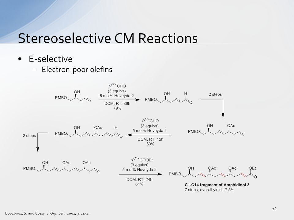 E-selective –Electron-poor olefins Stereoselective CM Reactions 28 Bouzbouz, S. and Cossy, J. Org. Lett. 2001, 3, 1451