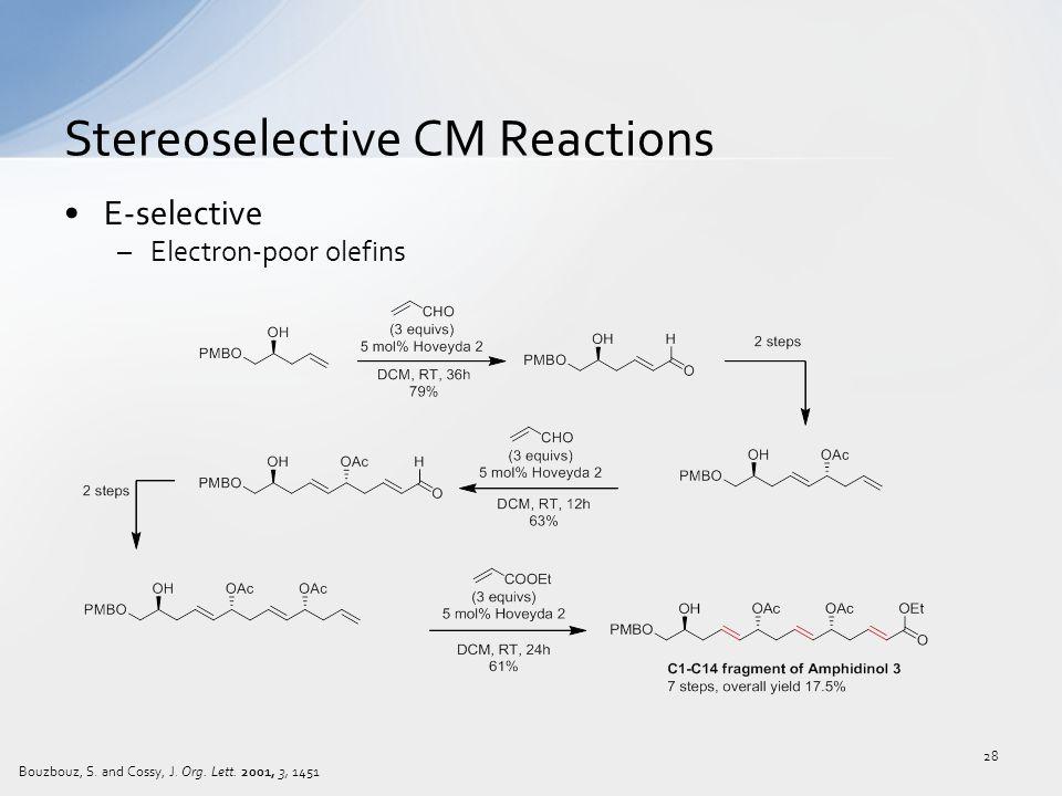E-selective –Electron-poor olefins Stereoselective CM Reactions 28 Bouzbouz, S.