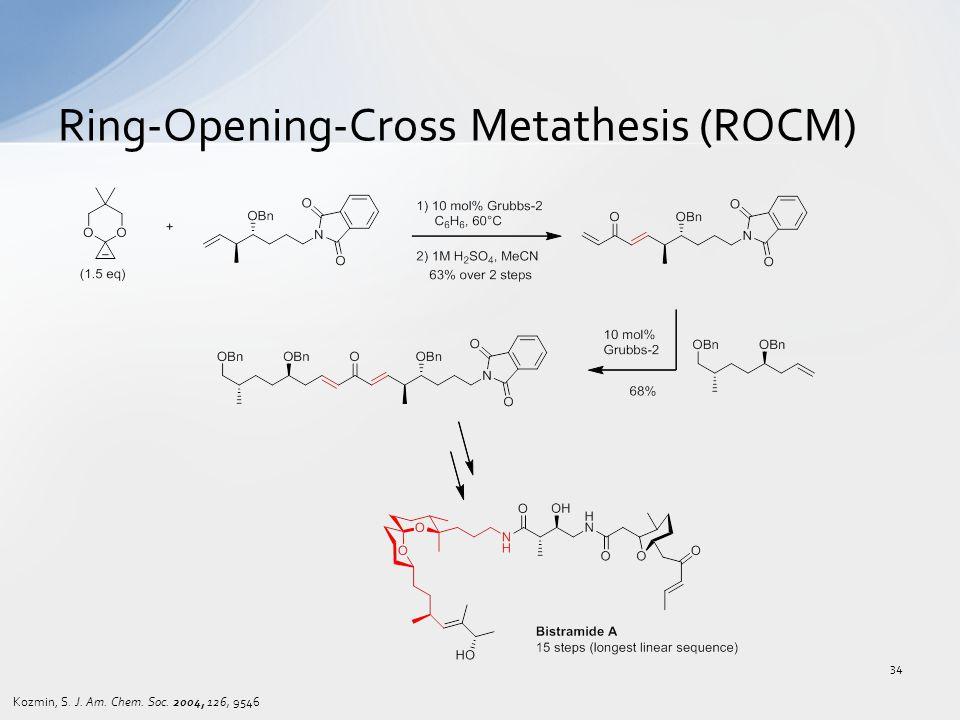 Ring-Opening-Cross Metathesis (ROCM) Kozmin, S. J. Am. Chem. Soc. 2004, 126, 9546 34