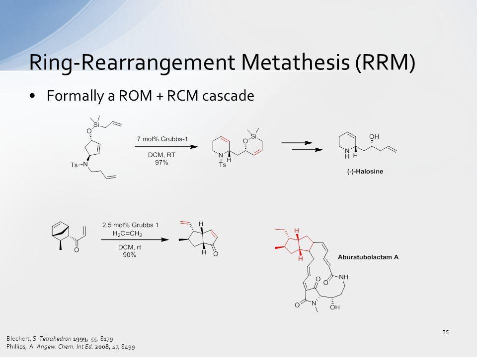 Formally a ROM + RCM cascade Ring-Rearrangement Metathesis (RRM) Blechert, S. Tetrahedron 1999, 55, 8179 Phillips, A. Angew. Chem. Int Ed. 2008, 47, 8