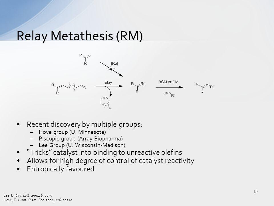 "Recent discovery by multiple groups: –Hoye group (U. Minnesota) –Piscopio group (Array Biopharma) –Lee Group (U. Wisconsin-Madison) ""Tricks"" catalyst"