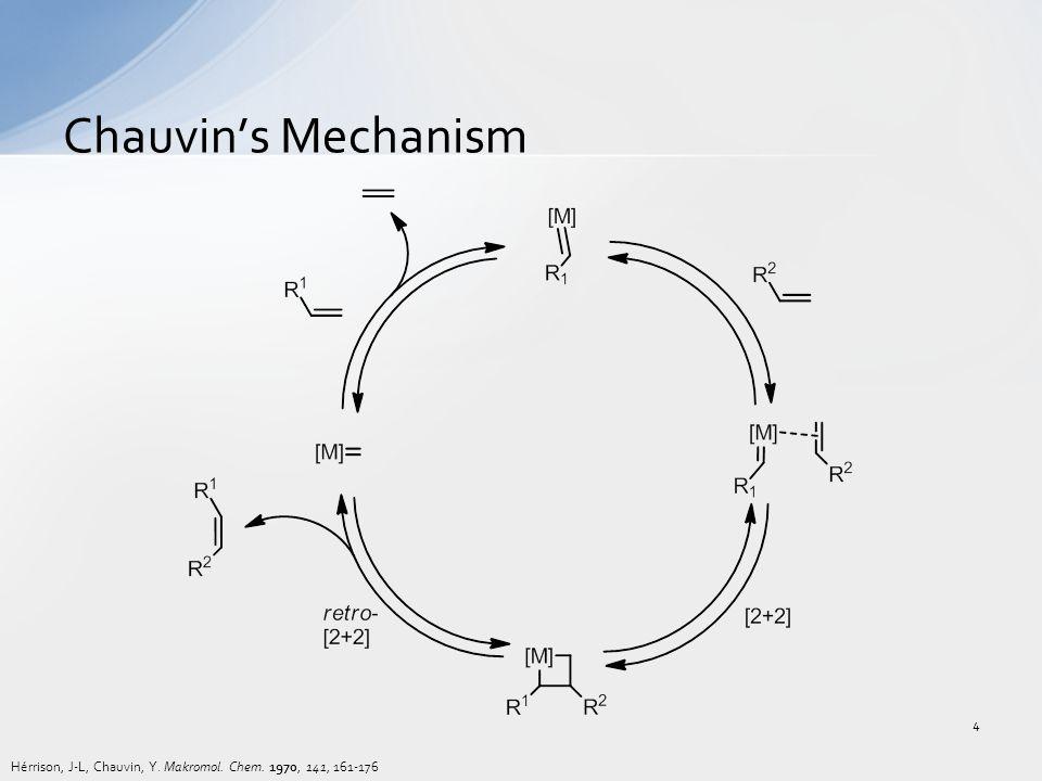 Chauvin's Mechanism Hérrison, J-L, Chauvin, Y. Makromol. Chem. 1970, 141, 161-176 4