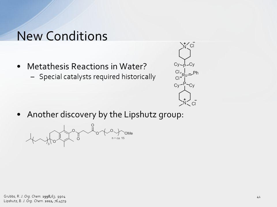 Metathesis Reactions in Water.