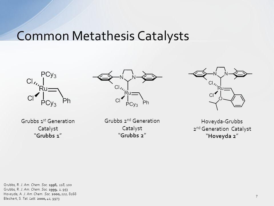 Common Metathesis Catalysts 7 Grubbs 1 st Generation Catalyst Grubbs 1 Grubbs 2 nd Generation Catalyst Grubbs 2 Hoveyda-Grubbs 2 nd Generation Catalyst Hoveyda 2 Grubbs, R.