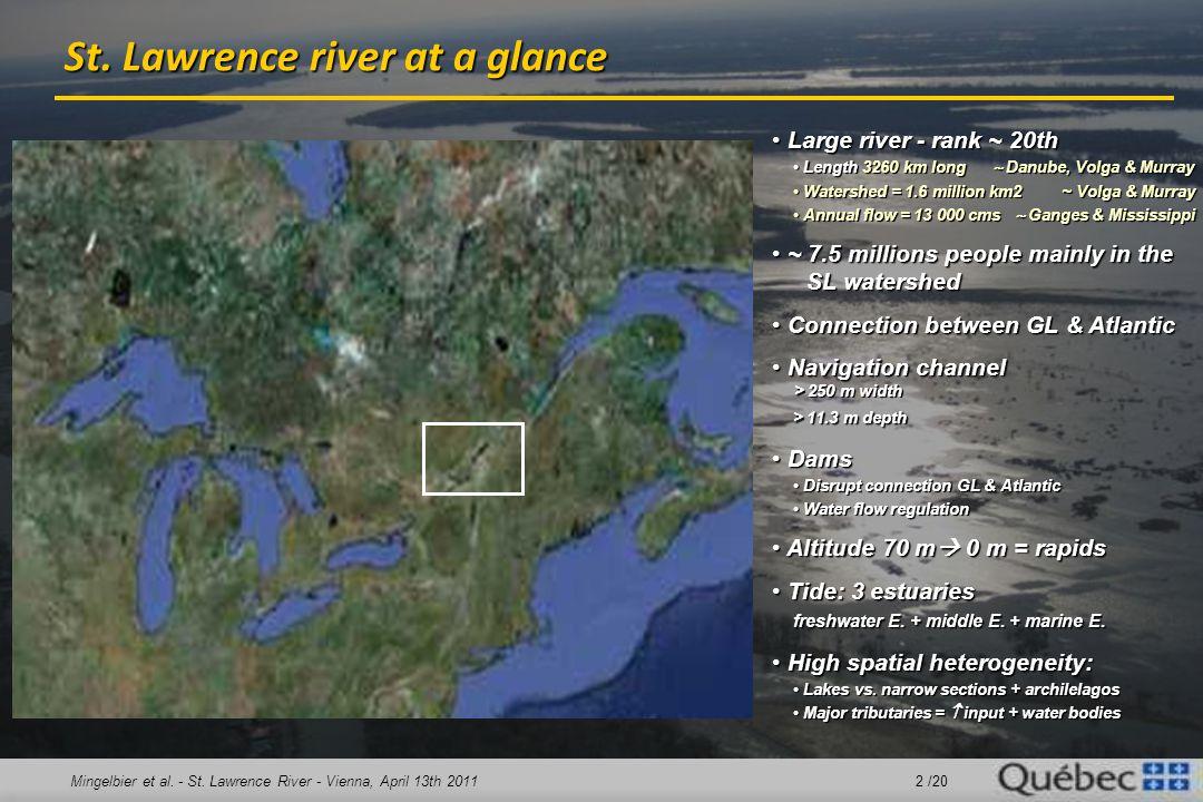 Mingelbier et al. - St. Lawrence River - Vienna, April 13th 2011 2 /20 St. Lawrence river at a glance Large river - rank ~ 20th Large river - rank ~ 2