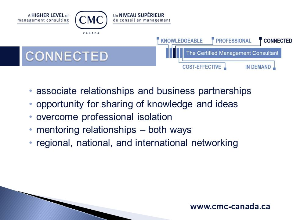 associate relationships and business partnerships opportunity for sharing of knowledge and ideas overcome professional isolation mentoring relationships – both ways regional, national, and international networking www.cmc-canada.ca