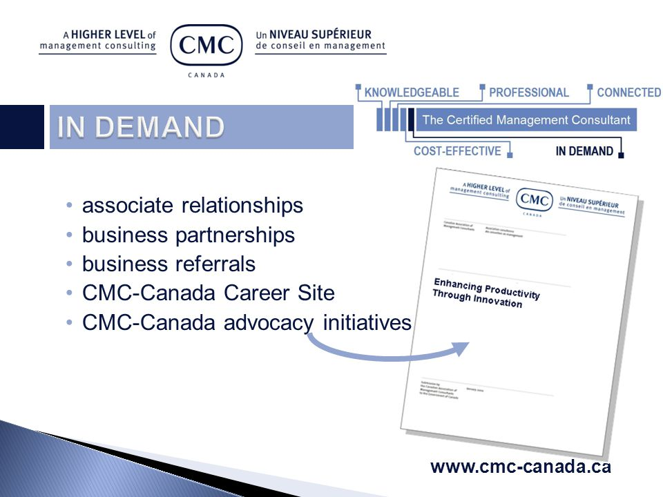 associate relationships business partnerships business referrals CMC-Canada Career Site CMC-Canada advocacy initiatives www.cmc-canada.ca
