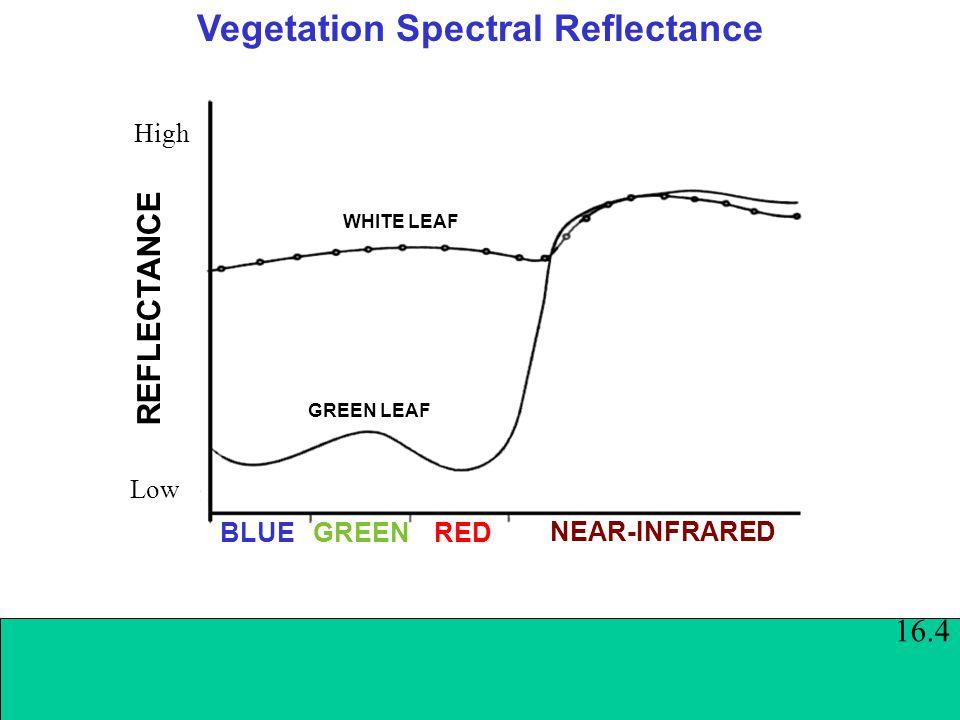 Vegetation Spectral Reflectance BLUEGREEN RED REFLECTANCE Low High WHITE LEAF NEAR-INFRARED GREEN LEAF 16.4