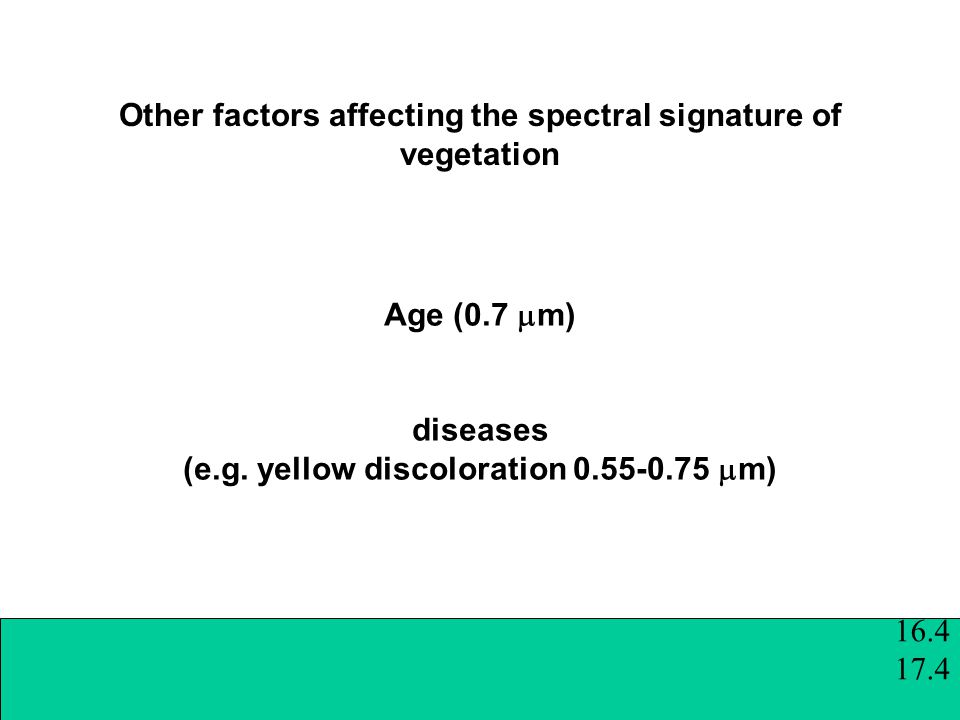 Other factors affecting the spectral signature of vegetation Age (0.7  m) diseases (e.g.