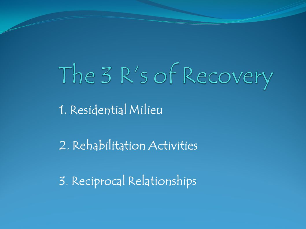 1. Residential Milieu 2. Rehabilitation Activities 3. Reciprocal Relationships