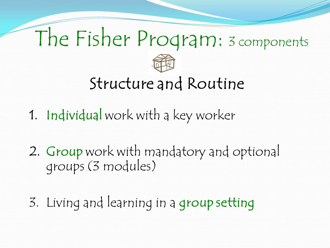 The Fisher Program: 3 components 1.Individual work with a key worker 2.Group work with mandatory and optional groups (3 modules) 3.Living and learning in a group setting Structure and Routine