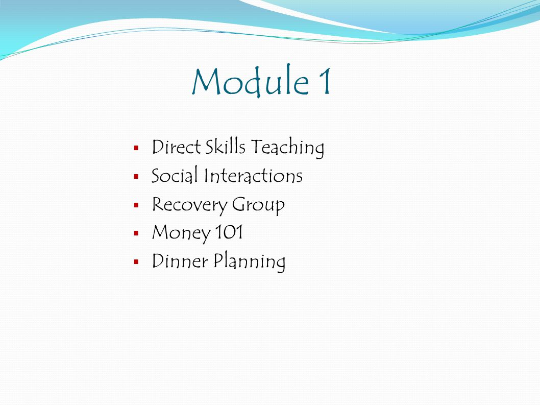 Module 1  Direct Skills Teaching  Social Interactions  Recovery Group  Money 101  Dinner Planning