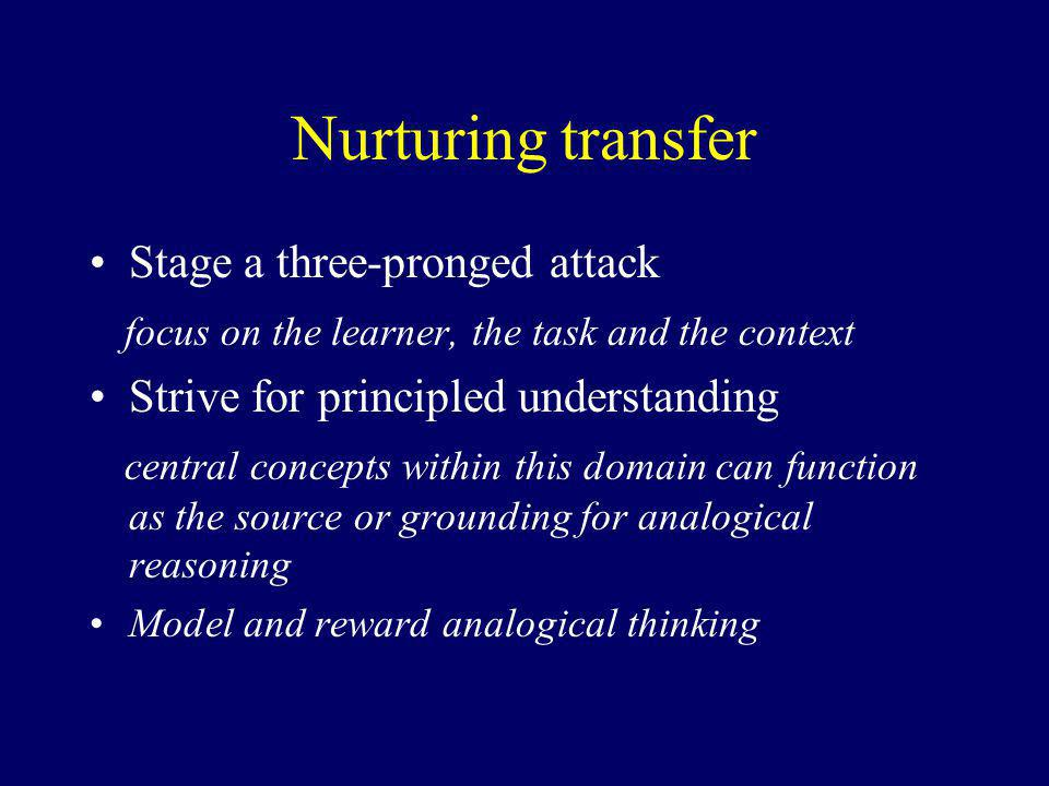 Nurturing transfer Stage a three-pronged attack focus on the learner, the task and the context Strive for principled understanding central concepts within this domain can function as the source or grounding for analogical reasoning Model and reward analogical thinking