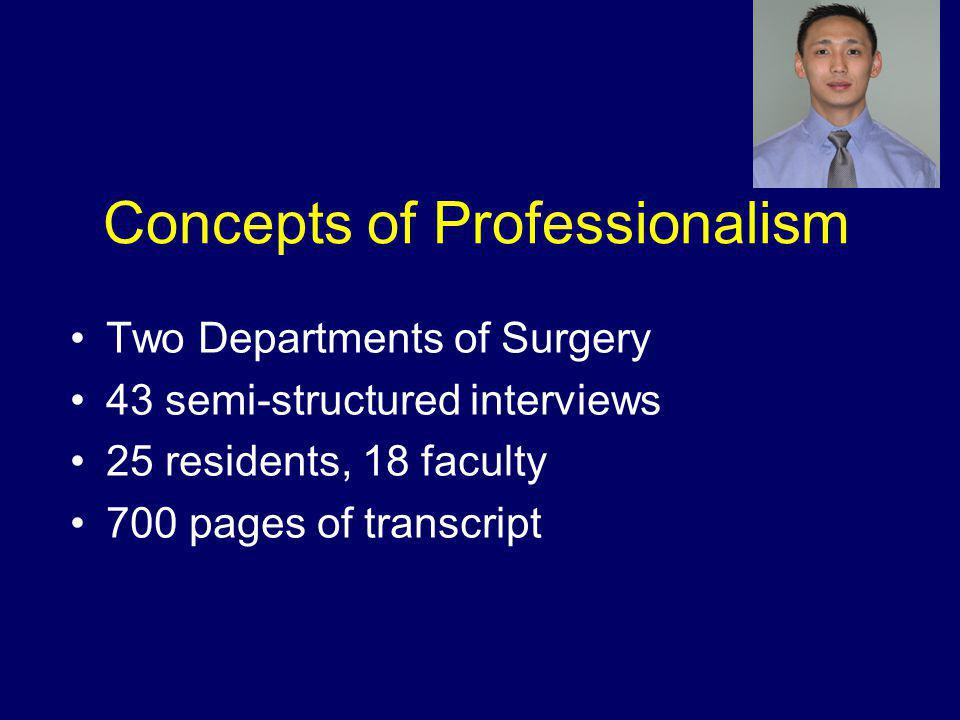 Concepts of Professionalism Two Departments of Surgery 43 semi-structured interviews 25 residents, 18 faculty 700 pages of transcript
