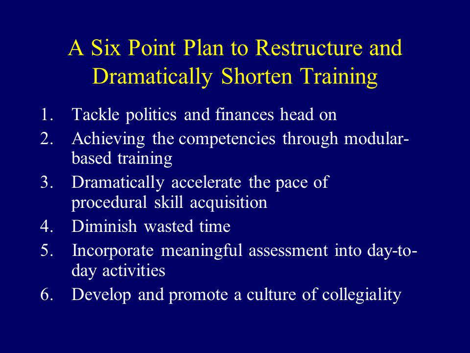 A Six Point Plan to Restructure and Dramatically Shorten Training 1.