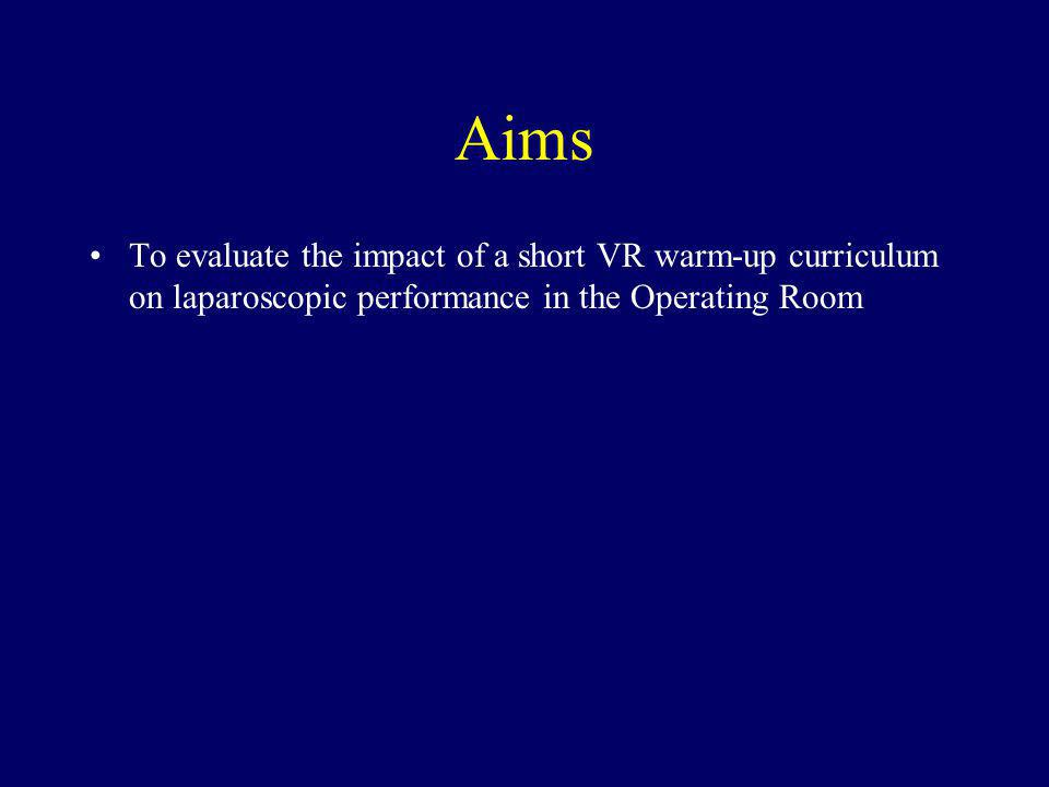 Aims To evaluate the impact of a short VR warm-up curriculum on laparoscopic performance in the Operating Room