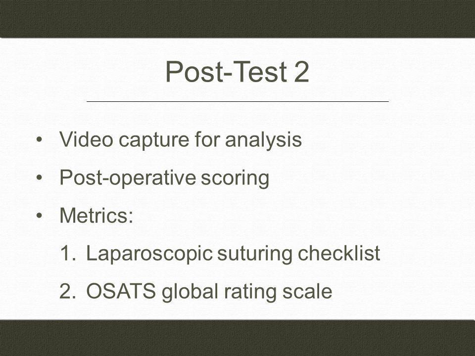 Video capture for analysis Post-operative scoring Metrics: 1.Laparoscopic suturing checklist 2.OSATS global rating scale Post-Test 2