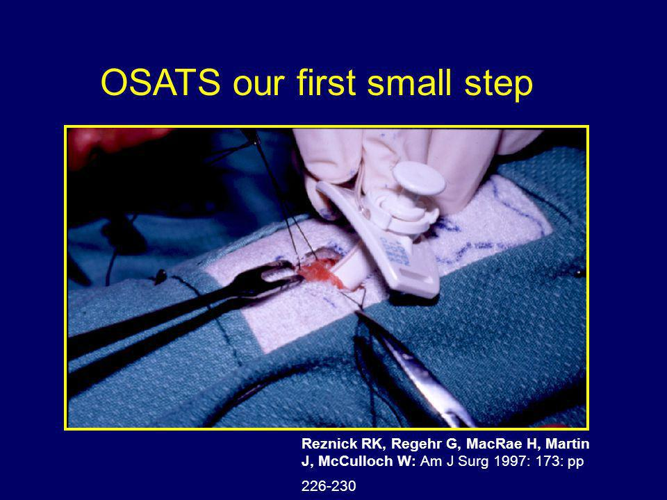 Reznick RK, Regehr G, MacRae H, Martin J, McCulloch W: Am J Surg 1997: 173: pp 226-230 OSATS our first small step